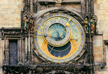 czech: Astronomical Clock Orloj in the Old Square of Prague. Czech Republic Stock Photo