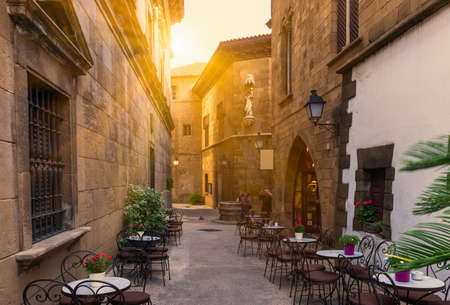 outdoor chair: Poble Espanyol - traditional architectures in Barcelona, Spain Stock Photo