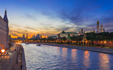 moscow: Sunset view of Kremlin and Moscow river in Moscow, Russia
