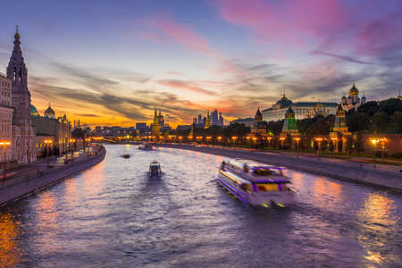 Sunset view of Kremlin and Moscow river in Moscow, Russia