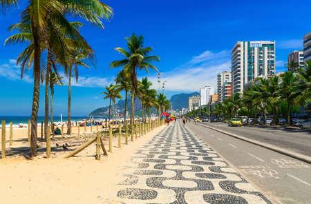 Ipanema beach with mosaic of sidewalk in Rio de Janeiro. Brazil