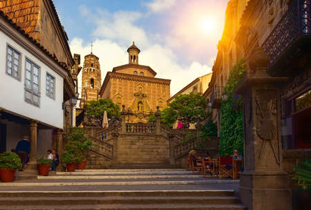 Poble Espanyol - traditional architectures in Barcelona, Spain 스톡 콘텐츠