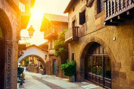 barcelona spain: Poble Espanyol - traditional architectures in Barcelona, Spain Stock Photo