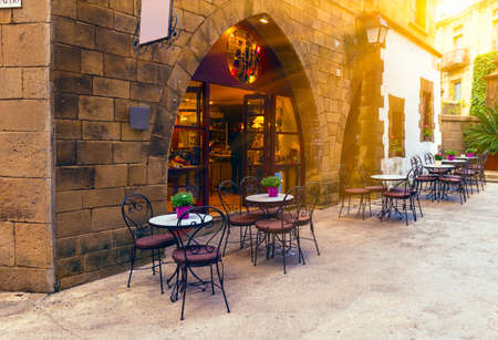old street: Poble Espanyol - traditional architectures in Barcelona, Spain Stock Photo