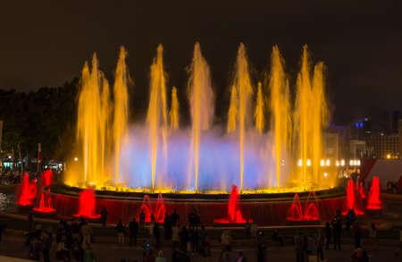 fount: Famous Montjuic Fountain in Barcelona, Spain Stock Photo