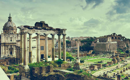 obelisc: Temple of Saturn and Forum Romanum in Rome, Italy