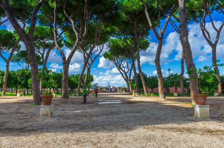 on the hill: Orange Garden Parco Savello Giardino degli Aranci on the Aventine Hill in Rome. Italy Stock Photo