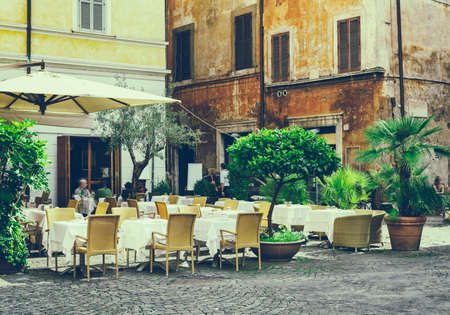 italy street: Old street in Rome, Italy