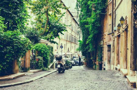 italy street: Old courtyard in Rome, Italy