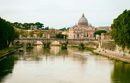 tevere: view of Basilica St Peter and river Tiber in Rome. Italy