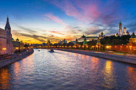 stars night: Sunset view of Kremlin and Moscow river in Moscow, Russia