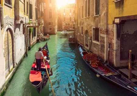 venice: Canal with gondolas in Venice, Italy