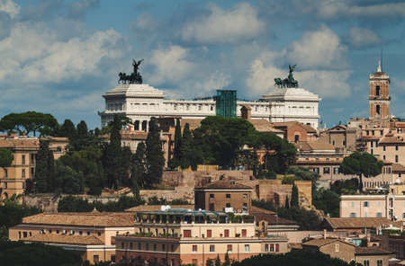 altar of fatherland: Aerial view of Rome and Monument Vittorio Emanuele II (Altar Fatherland), Italy Stock Photo