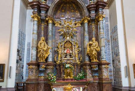 infant jesus: Prazske jezulatko (Prague s infant Jesus) statue situated inside of the Carmelite Church of Our Lady Victorious in Prague
