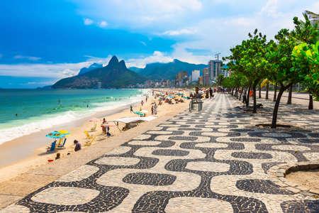 brazil beach: Ipanema beach with mosaic of sidewalk in Rio de Janeiro. Brazil