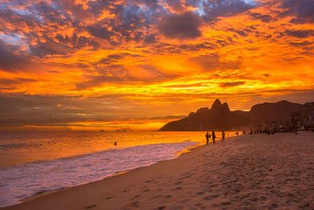 Sunset view of Ipanema beach and mountain Dois Irmao (Two Brother) in Rio de Janeiro, Brazil