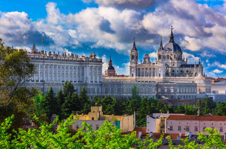 royal park: Cathedral Santa Maria la Real de La Almudena and the Royal Palace in Madrid, Spain Stock Photo