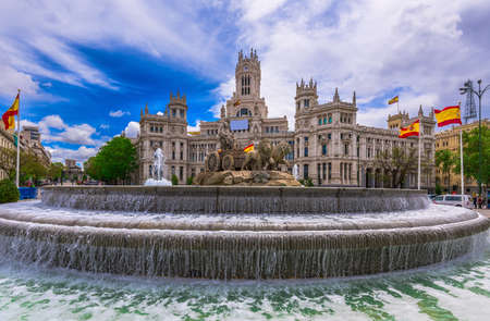 palacio: Cybeles Square (Plaza de la Cibeles) and Central Post Office (Palacio de Comunicaciones) in Madrid, Spain