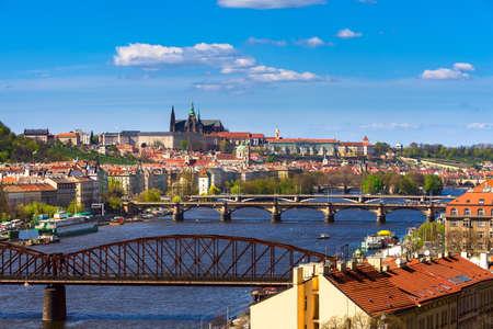 vltava: Prague Castle and Vltava river in Rrague, Czech Republic