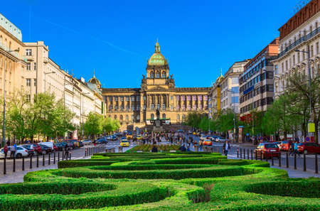 Wenceslas square and National Museum in Prague, Czech Republic Stok Fotoğraf