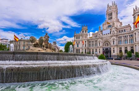 cibeles: Cybeles Square (Plaza de la Cibeles) and Central Post Office (Palacio de Comunicaciones) in Madrid, Spain