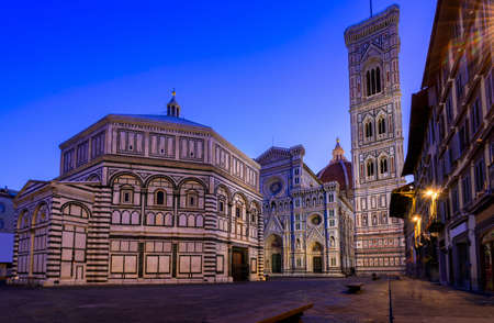 fiore: Florence Cathedral of Saint Mary of the Flower (Florence Duomo), Florence Giottos Campanile and Florence Baptistery at night in Florence, Italy