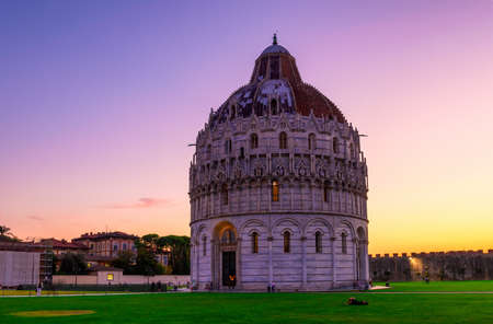 miracoli: The Pisa Baptistery of St. John (Battistero di San Giovanni di Pisa) in Pisa, Tuscany, Italy. The Pisa Baptistery became the second building, in chronological order, in the Piazza dei Miracoli, near the Duomo di Pisa Stock Photo