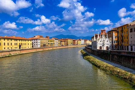 river arno: Arno River and Chiesa di Santa Maria della Spina church in Pisa. Tuscany, Italy. Lungarno of Pisa. Stock Photo