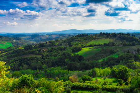 tuscana: San Gimignano, Tuscany, Italy. Typical landscape of Tuscany in Italy Stock Photo