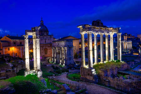 obelisc: Night view of Temple of Saturn and Forum Romanum in Rome, Italy