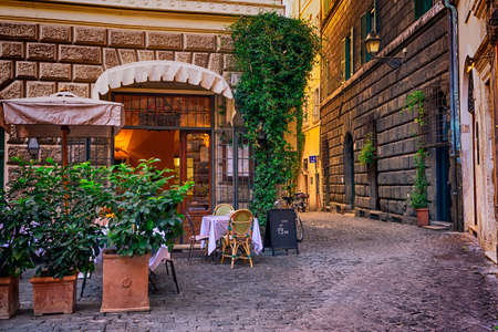 italian: View of old cozy street in Rome, Italy Stock Photo