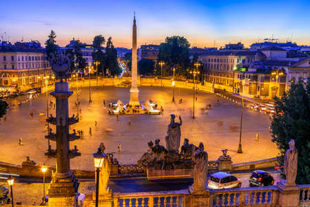 Sunset view of Piazza del Popolo (Peoples Square) in Rome, Italy