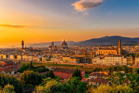 Sunset view of Florence, Palazzo Vecchio and Florence Duomo, Italy