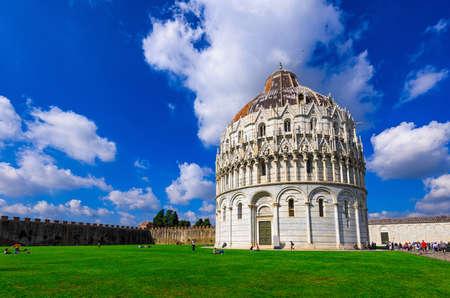 The Pisa Baptistery of St. John (Battistero di San Giovanni di Pisa) in Pisa, Tuscany, Italy. The Pisa Baptistery became the second building, in chronological order, in the Piazza dei Miracoli, near the Duomo di Pisa Stock Photo