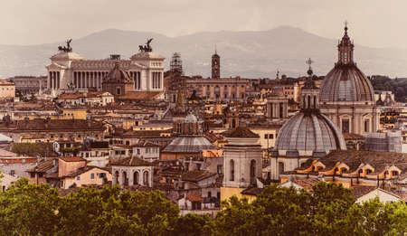 obelisco: Skyline of Rome, Italy Stock Photo