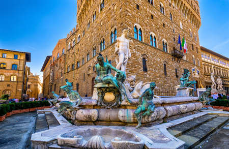 Fountain Neptune in Piazza della Signoria in Florence, Italy Stock Photo