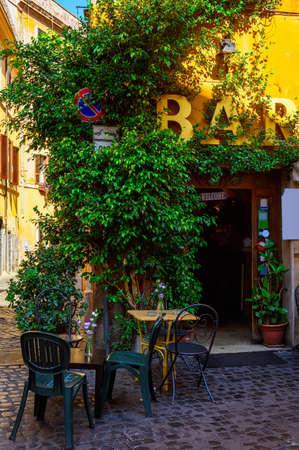 comfort food: Cozy old street in Trastevere in Rome, Italy