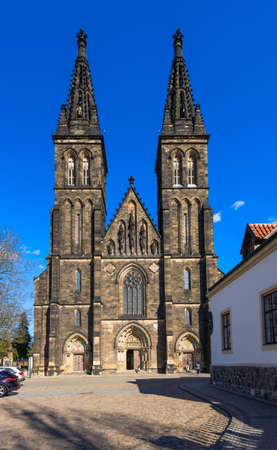neo gothic: Neo Gothic Basilica of St Peter and St Paul in Vysehrad fortress in Prague, Czech Republic Stock Photo