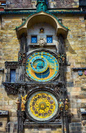 Astronomical Clock Prague Orloj in the Old Square of Prague. Czech Republic Stock Photo