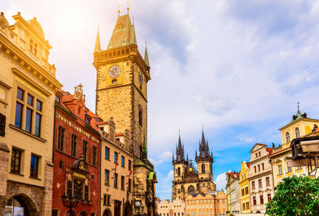 Old Town Square and Astronomical Clock Orloj in Prague. Czech Republic Stock Photo