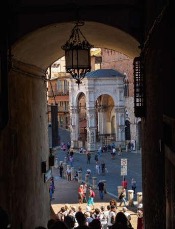 Campo Square (Piazza del Campo), Palazzo Pubblico and Mangia Tower (Torre del Mangia) in Siena, Tuscany, Italy