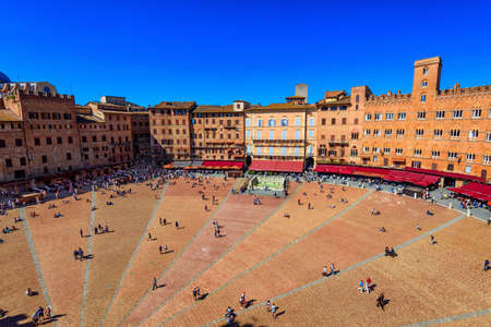 Aerial view of Siena, Campo Square (Piazza del Campo) in Siena, Tuscany, Italy