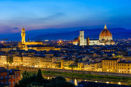 Night view of Florence, Ponte Vecchio, Palazzo Vecchio and Florence Duomo, Italy Stock Photo