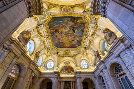 homage: Madrid, Spain - May 10, 2016: Moldings and the fresco Corrado Giaquinto (Spain Pays Homage to Religion and to the Church) in the Royal Palace of Madrid