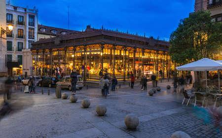 Night view of Mercado San Miguel in Madrid, Spain. Mercado San Miguel of Madrid is one of the most popular landmark in Madrid, Spain.