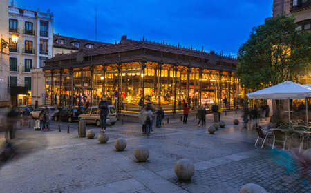 Night view of Mercado San Miguel in Madrid, Spain. Mercado San Miguel of Madrid is one of the most popular landmark in Madrid, Spain.