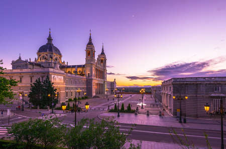 daybreak: Sunset view of Cathedral Santa Maria la Real de La Almudena in Madrid, Spain