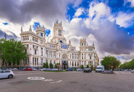 plaza de la cibeles: Cybeles Square (Plaza de la Cibeles) and Central Post Office (Palacio de Comunicaciones) in Madrid, Spain