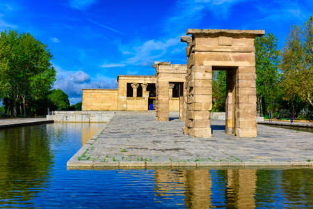 The Temple of Debod (Templo de Debod) is an ancient Egyptian temple in Madrid, Spain. The temple was rebuilt in one of Madrid parks, the Parque del Oeste, near the Royal Palace of Madrid