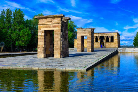 rebuilt: The Temple of Debod (Templo de Debod) is an ancient Egyptian temple in Madrid, Spain. The temple was rebuilt in one of Madrid parks, the Parque del Oeste, near the Royal Palace of Madrid